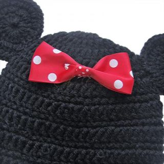 4pcs Newborn 12M Baby Girl Infant Minnie Mouse Costume Crochet Knit Outfit Props