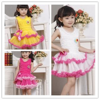 New Kids Toddlers Girls Party Princess Flower Sleeveless Tutu Dress AGE2 8Y