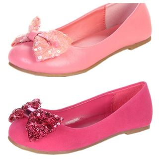 New Girls Kids Sparkle Bow Ballet Flat Shoes Silver Gold Coral Fuschia Size 9 4