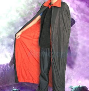 Full Length Halloween Vampire Cape Cloak Costume Adult Dress Up Party Black Red