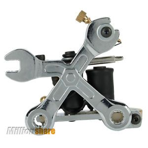 New Wrench Tattoo Machine 8 Wraps Coils Liner Shader Gun Silver