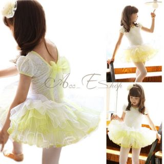 Lovely Girl Ballet Dance Dress Tutu Leotard Kid Lace Costume Skirt Bowknot 3 7 Y