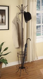 Kings Brand Brown Metal Coat Rack Hat Stand with Umbrella Holder Stand New