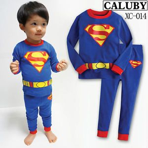 "Hot Toddler Girls Clothes Kids Boys Sleepwear ""Superman"" Pajamas Suits Set 4T"