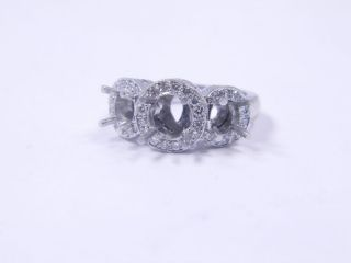 18K White Gold Diamond Ring Jacket Size 6 75