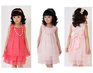 Baby Kids Girls Princess Lace Bowknot Party Gown Dress Formal Clothing Necklace