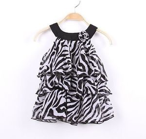 3 4 Year Lassock Baby Kid Toddler Girl Chiffon Zebra Stripe Dress Outfit Clothes
