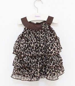 1pc Kid Toddler Baby Girl Dress Outfit Clothes Pettiskirt Tutu Leopard Chiffon