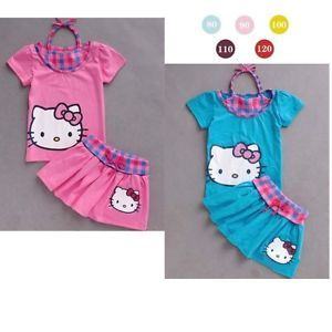 New Hello Kitty Baby Girls Toddler Clothes Set Top Skirt Dress Size 6month 3Y