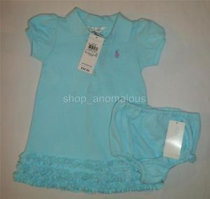 Polo Ralph Lauren Baby Girls Dress Romper Outfit Clothes Set Sz 6 9M 9 Month