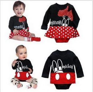 Girl Boy Baby Clothes Minnie Mickey Mouse Romper Set 0 24M Outfit