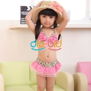 Cute Baby Toddler Girls Leopard Bowknot Bikini Swimsuit Swimwear Three Piece 01