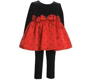 Bonnie Jean Toddler Girl's Christmas Black Red Polka Dot Dress Top Leggings 4T