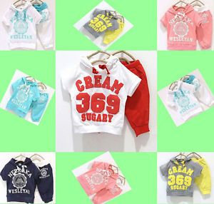 Cool Baby Girls Boys Kids Cotton Sports Clothing Hoody T Shirt Top Pant Bottom