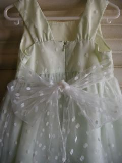 Greendog Sz 3T Toddler Girls White Green Tulle Bow Satin Dress LKNW 4 Easter