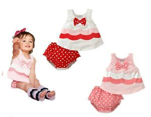2 Pcs Baby Girls Summer Dress Set Clothes Vest Top Bloomers Pink Dot 6 30M