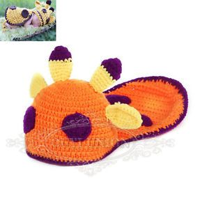 Newborn Baby Girl Boy Infant Knit Crochet Clothes Photo Prop Orange Deer Outfit
