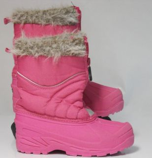 Girls Toddler Champion Pink Faux Fur Trimmed Snow Boots Size 12