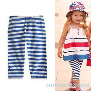 2 Pcs Toddler Kids Girls Blue Striped Outfits Clothing Straps Skirt Pants 2 7Y
