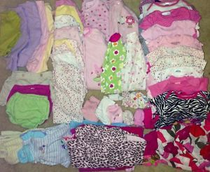 Infant Baby Girl Clothes Lot Size Newborn 0 3 Months Fall Winter 75 Pcs Carters