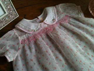 Vintage Antique Smocked Baby Girls' Pink Easter Spring Organdy Dress by Santone