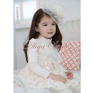 Girl Kid Lace Rose Pageant Party Wedding Dress Baby Tulle Tutu Skirt Clothes 6 7