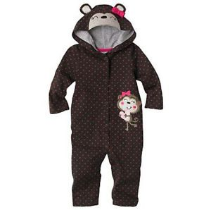 Jumping Beans 6 Months Monkey Heart Hooded Coveralls Baby Girl Cotton Clothes