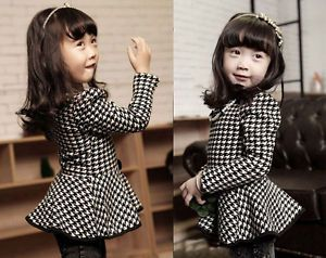 Baby Girls Coat Kids Long Sleeve Dress Skirt Flared Dress Clothes 4 5Year NL01