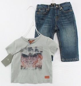 7 for All Mankind New Baby Boys Gray T Shirt Jeans 2pc Casual Set 3 6 Months $89
