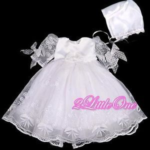 Baby Girl Infant Baptism Christening Dress Gown Bonnet Occasion Size 0M 3M 157