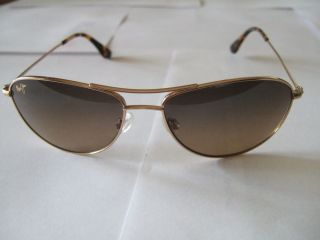 Maui Jim Baby Beach Sunglasses Gold Rim US Pat Titanium CE MJ 245 16 56 18 120