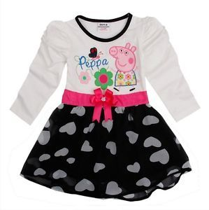 Peppa Pig Girls Baby Cotton Chiffon Flower Party Top Dress Heart 2 3Y Clothing