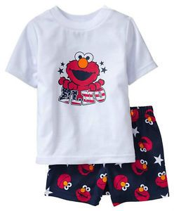 2pcs Girls Boys Baby Kids Top Pants Shorts Sleepwear Pajamas Outfit Clothes Elmo