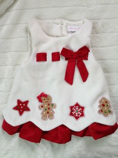 Bonnie Baby Girls 6 9 Months Christmas Dress Gingerbread Applique Boutique