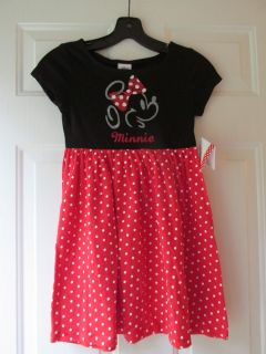 Disney Little Girls Minnie Mouse Red Black Dress Small 1034