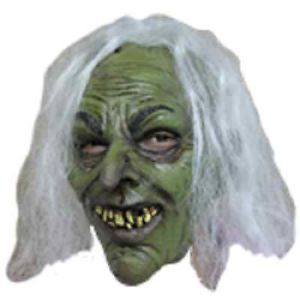 Ugly Green Witch Latex Child Mask Warts Horror White Hair Sorceress Kids New