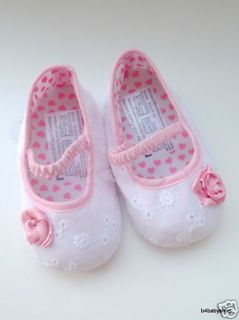 Rose White Baby Girl Mary Jane Ballet Shoes NB 12M