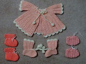Vintage Baby Girl's Clothing Pink Dress and Booties Handmade Crochet Detailed
