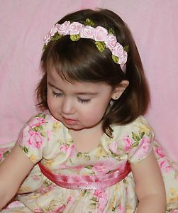 Baby Toddler Girls Pink Crown Flower Roses Green Velvet Leaves Headband Photo