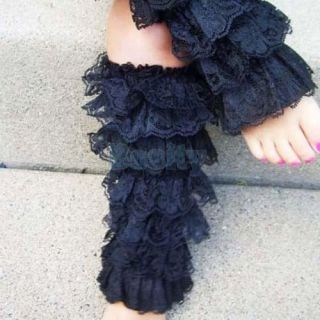5X Baby Girl Nine Layers Lace Leg Warmer Stocking for Pettiskirt Ages 0 3 Black