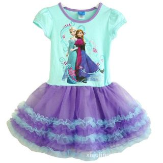 New Disney Frozen Princess Elsa Anna Girls Kids Cake Tulle Tutu Dresses 3T 6T