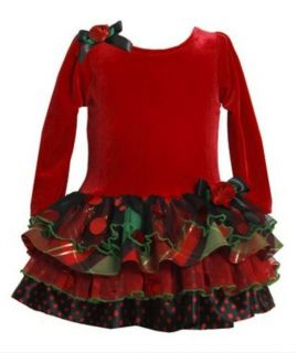 Bonnie Jean Christmas Holiday Party Red Sparkle Tutu Dress