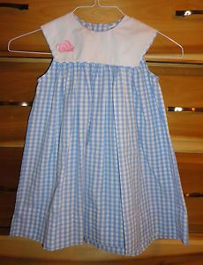 Kelly's Kids Girls Blue White Plaid Portrait Collar Dress Sz 4 Great Easter