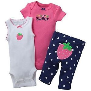 Carters Baby Girl Clothes 3 Piece Set Pink Strawberry 3 6 9 12 18 24 Months