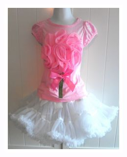 Toddler Girl Tutu Skirt Set Dress Birthday Outfit Size 3T Pink Valentines