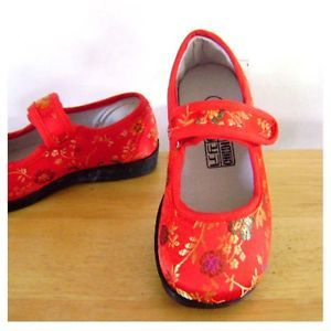Baby Toddler Red Dressy Casual Mary Janes Brocade Shoes Girls Size 6 8 10