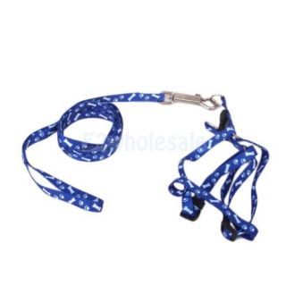 4X Bone Paws Print Small Dog Pet Puppy Nylon Adjustable Leash Lead Harness Tool