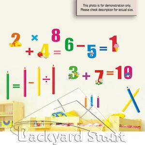 New Number Math Wall Stickers Decal Classroom School Nursery Room Decor US HQ