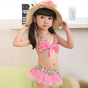 New Baby Toddler Girls Swimwear Leopard Bikini Kids Swimsuit Skirt Hat 6T
