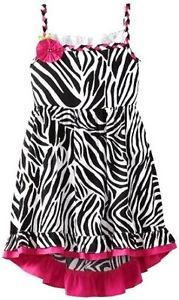 "New Girls ""Pink Black Zebra High Low"" Size 12 Dress Clothes"
